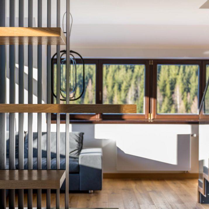 Apartmán Špindlerův Mlýn – Průhled do obývacího prostoru