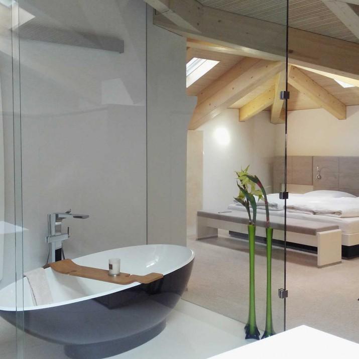 Byt Praha Nové Město - koupelna, prosklená příčka.
