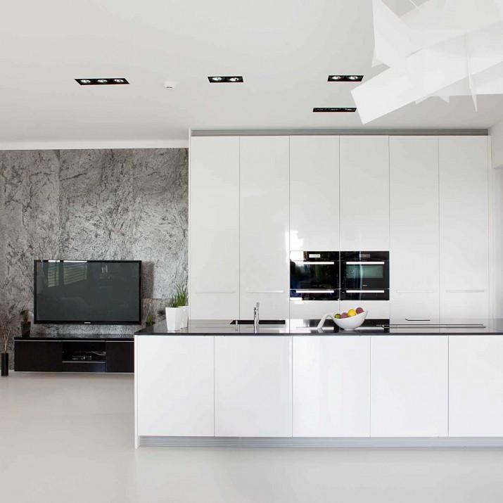 Rodinný dům Žitenice - pohled na kuchyni s krbem.